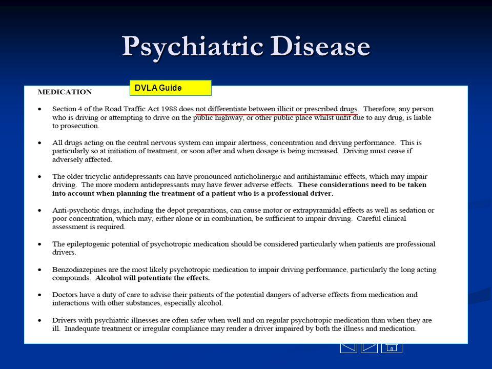 Psychiatric Disease DVLA Guide