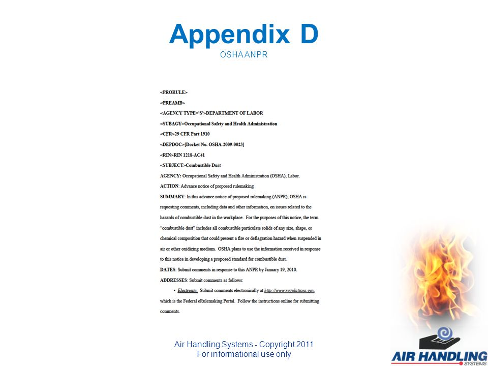 Appendix D OSHA ANPR Air Handling Systems - Copyright 2011 For informational use only