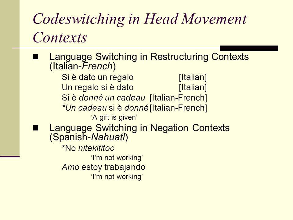Codeswitching in Head Movement Contexts Language Switching in Restructuring Contexts (Italian-French) Si è dato un regalo [Italian] Un regalo si è dat