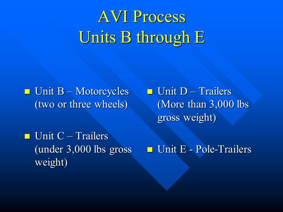 AVI Process Four-Wheel Motor Vehicles Lights (Head lights, tail lights, turn signals, brake lights) Lights (Head lights, tail lights, turn signals, br