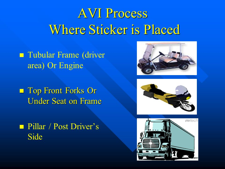 AVI Process Where Sticker is Placed Pillar-Post (Not on Door) Frame or Permanent box