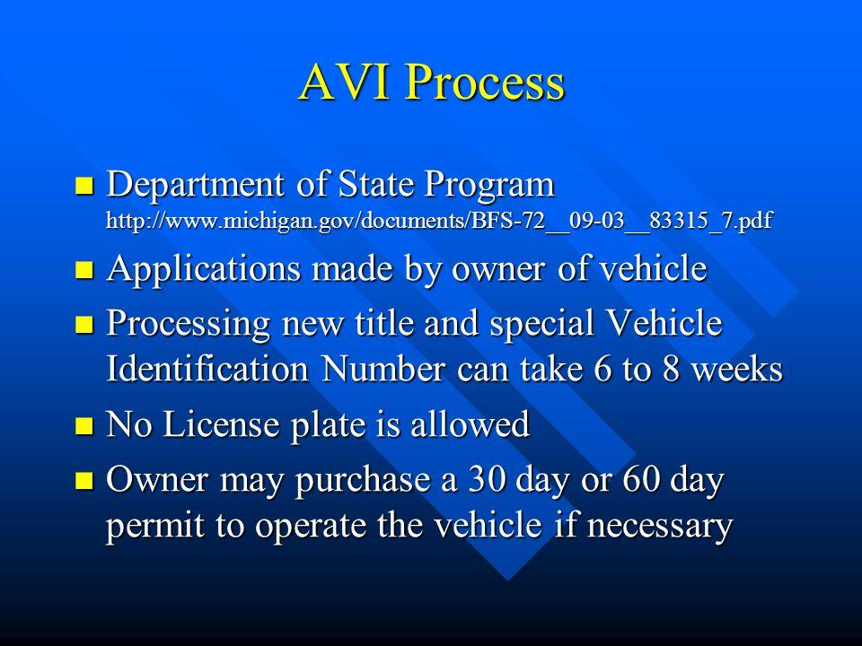 Assembled Vehicle Inspection (AVI) Process Michigan Department of State Investigations Division Bill Burton, Senior Analyst