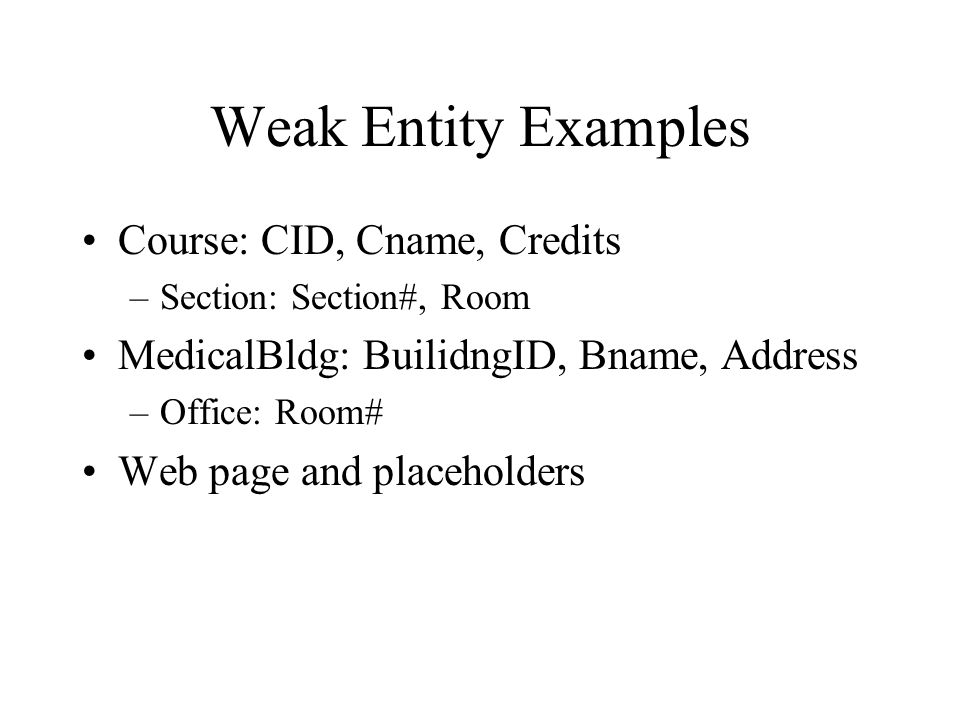 Weak Entity Examples Course: CID, Cname, Credits –Section: Section#, Room MedicalBldg: BuilidngID, Bname, Address –Office: Room# Web page and placehol