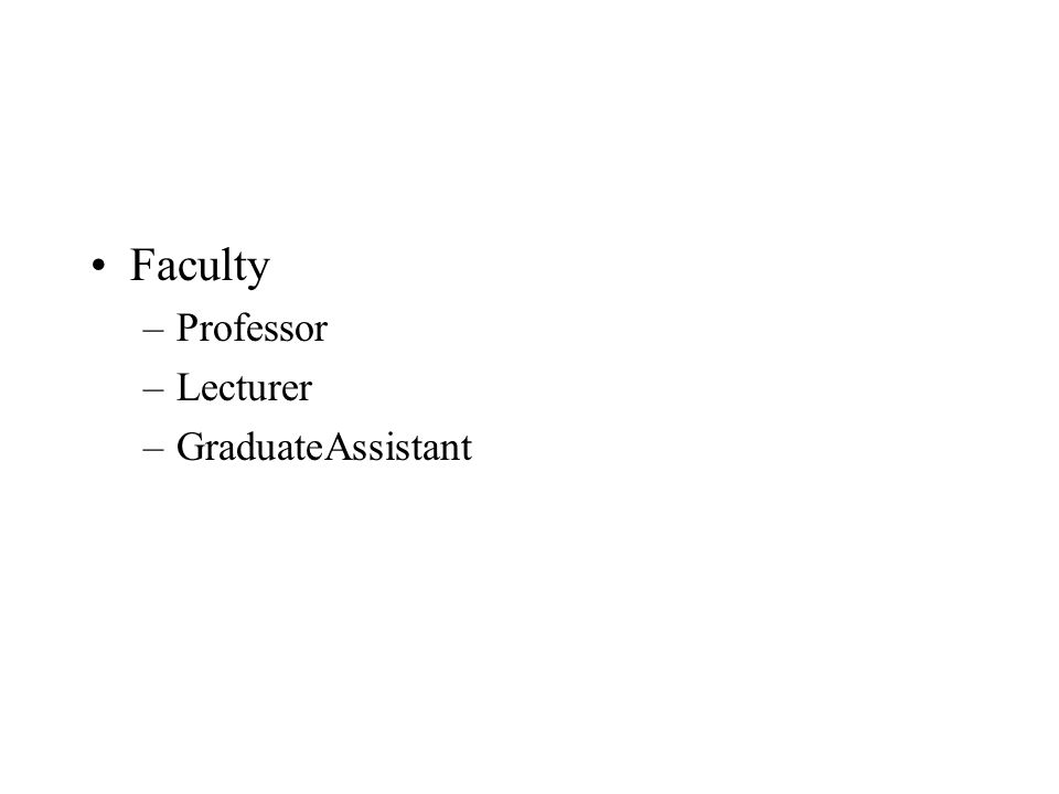 Faculty –Professor –Lecturer –GraduateAssistant