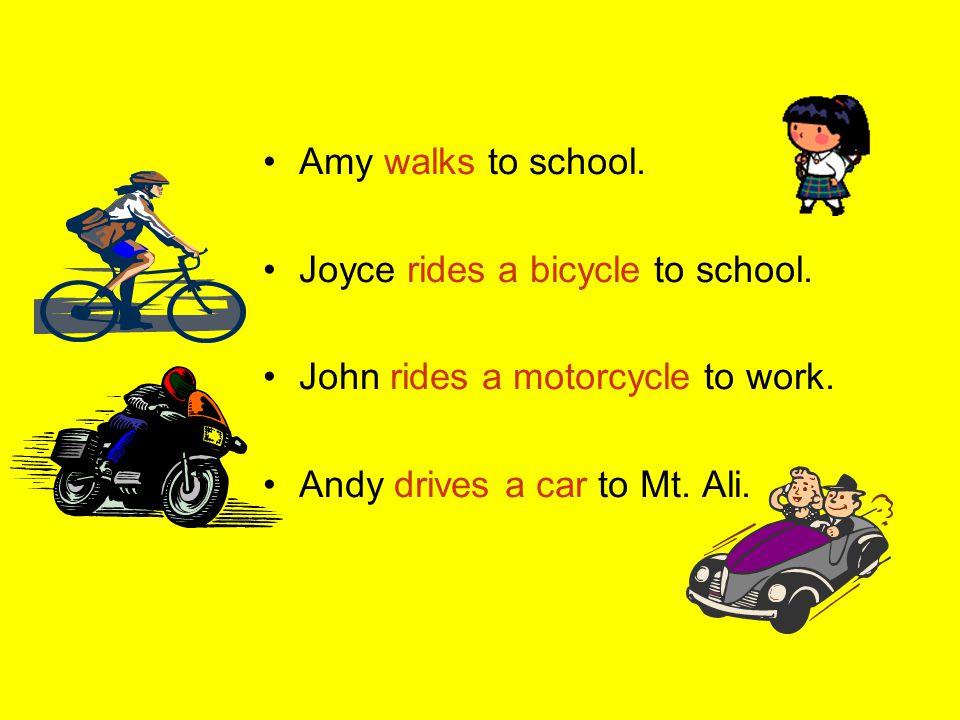 Sentence patterns: Part B I take the MRT to school.