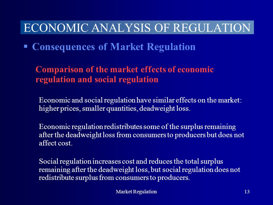 Market Regulation13  Consequences of Market Regulation Comparison of the market effects of economic regulation and social regulation Economic and social regulation have similar effects on the market: higher prices, smaller quantities, deadweight loss.