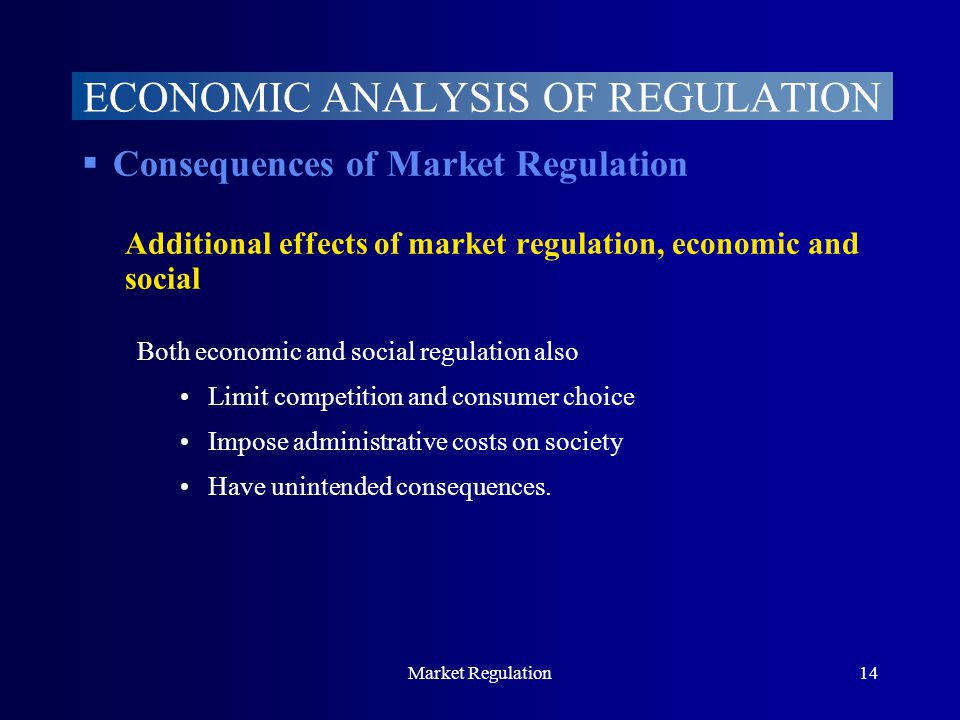 Market Regulation14  Consequences of Market Regulation Additional effects of market regulation, economic and social Both economic and social regulation also Limit competition and consumer choice Impose administrative costs on society Have unintended consequences.