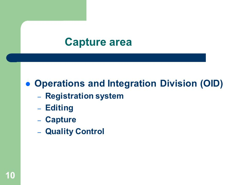 10 Capture area Operations and Integration Division (OID) – Registration system – Editing – Capture – Quality Control