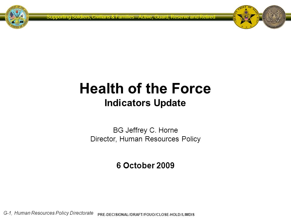 G-1, Human Resources Policy Directorate PRE-DECISIONAL//DRAFT//FOUO//CLOSE-HOLD//LIMDIS Supporting Soldiers, Civilians & Families – Active, Guard, Reserve and Retired Campaign Plan for Health Promotion, Risk Reduction and Suicide Prevention Comprehensive Soldier Fitness Soldiers Families Civilians Sustaining the All-Volunteer Force Soldier & Family Action Plan Army Medical Action Plan Strategies to Restore Balance 4/19/2015 4:24 PM 12 Survivors Grow the Army FY10 Civilian Human Capital Plan Human Capital Strategy Institutional Adaptation Survivor Outreach Services Warrior Transition Command Well-Being of the Force Indicators Soldier and Family Surveys Service Delivery Metrics Direct Feedback