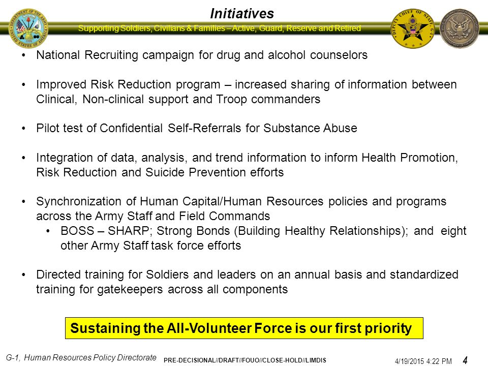 G-1, Human Resources Policy Directorate PRE-DECISIONAL//DRAFT//FOUO//CLOSE-HOLD//LIMDIS Supporting Soldiers, Civilians & Families – Active, Guard, Reserve and Retired CSA Monthly Updates include 10 indicators of Soldier and Family member behavior: domestic violence, divorces, desertions, AWOLs, drug and alcohol enrollments, drug positives, suicides, courts-martial, motorcycle accidents and fatalities, and sexual assaults Trends FY07 – FY08: Divorce, Alcohol Dependence and Abuse Enrollments, Drug Positives, Motorcycle Accidents and Fatalities, Suicides, Sexual Assaults all reflected upward trends.