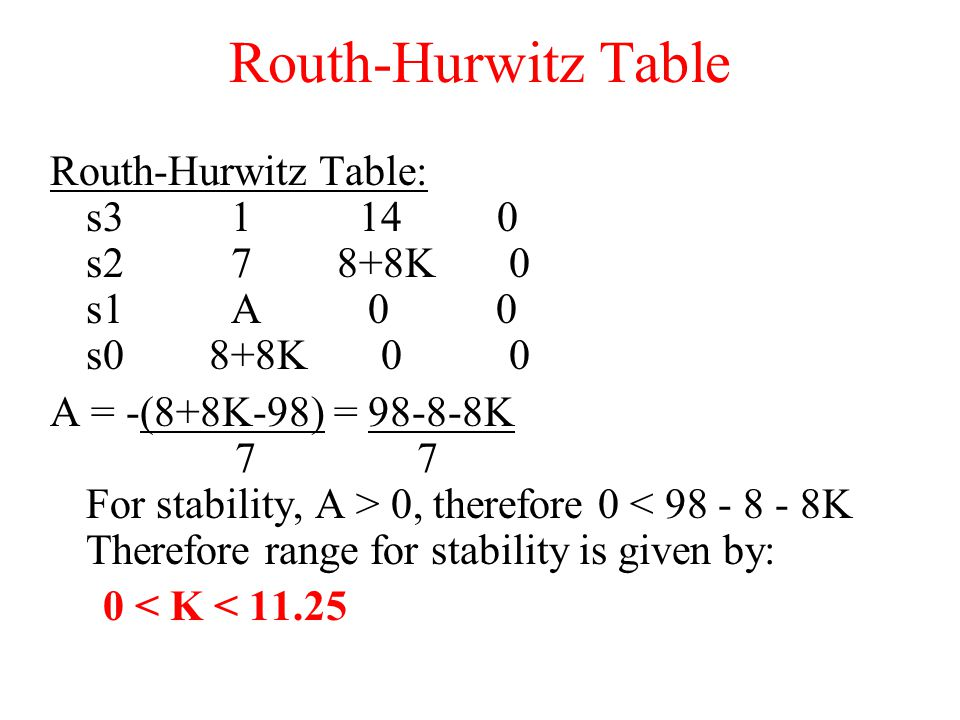 Routh-Hurwitz Table Routh-Hurwitz Table: s3 1 14 0 s2 7 8+8K 0 s1 A 0 0 s0 8+8K 0 0 A = -(8+8K-98) = 98-8-8K 7 7 For stability, A > 0, therefore 0 < 98 - 8 - 8K Therefore range for stability is given by: 0 < K < 11.25