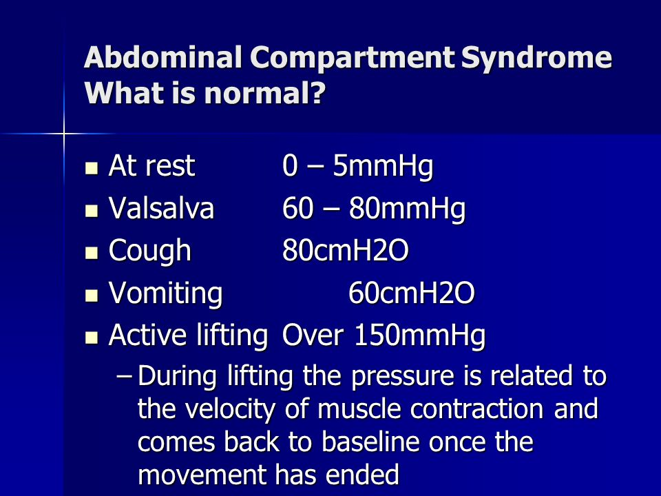 Abdominal Compartment Syndrome What is normal.