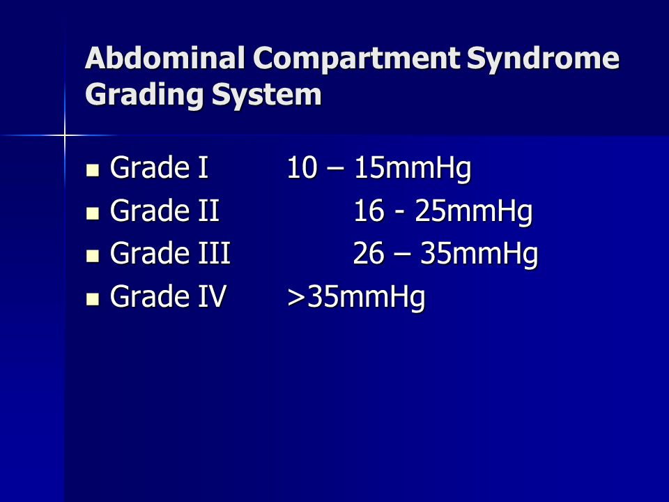 Abdominal Compartment Syndrome Grading System Grade I10 – 15mmHg Grade I10 – 15mmHg Grade II16 - 25mmHg Grade II16 - 25mmHg Grade III26 – 35mmHg Grade III26 – 35mmHg Grade IV>35mmHg Grade IV>35mmHg
