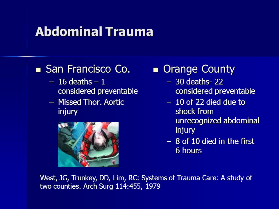 Abdominal Trauma San Francisco Co. San Francisco Co.