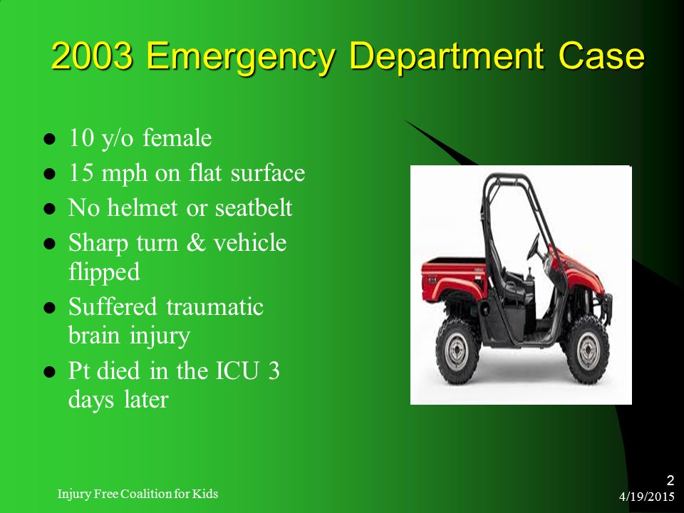 4/19/2015 Injury Free Coalition for Kids 2 2003 Emergency Department Case 10 y/o female 15 mph on flat surface No helmet or seatbelt Sharp turn & vehi