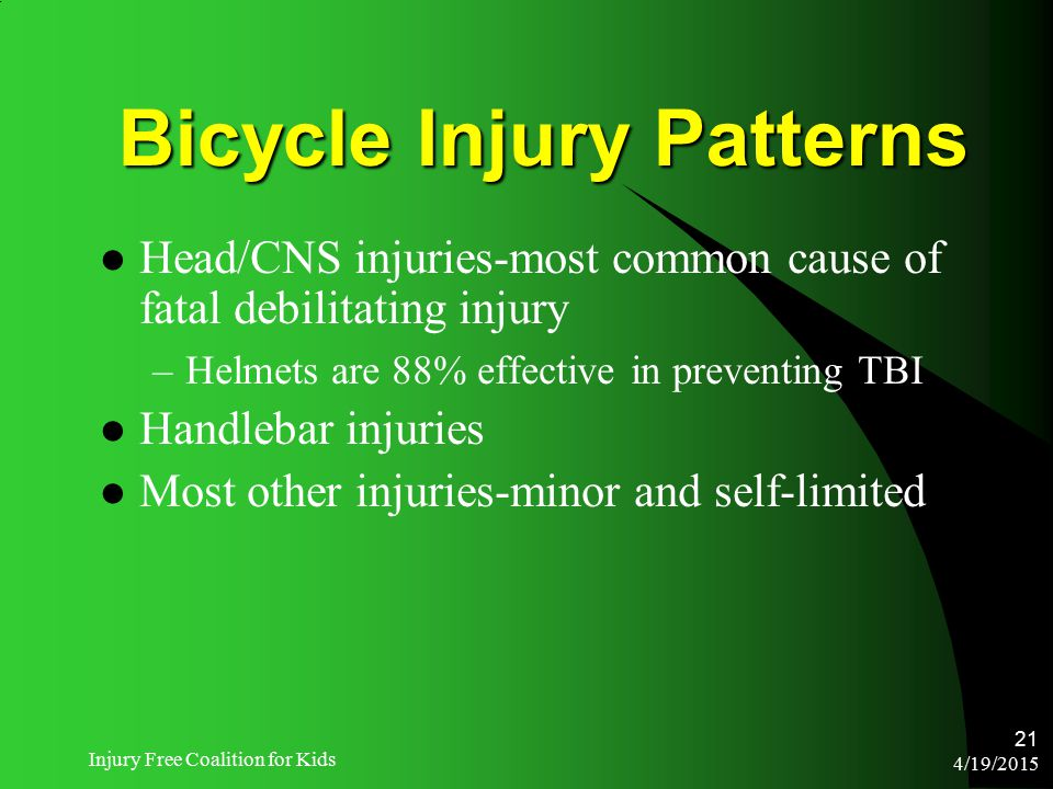 4/19/2015 Injury Free Coalition for Kids 21 Bicycle Injury Patterns Head/CNS injuries-most common cause of fatal debilitating injury –Helmets are 88%