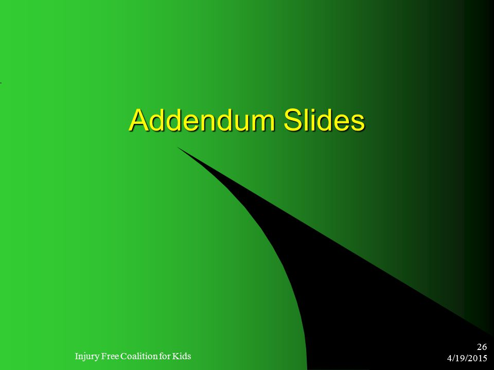 4/19/2015 Injury Free Coalition for Kids 26 Addendum Slides