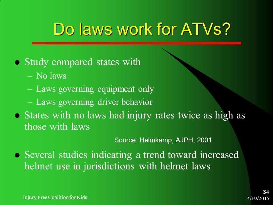 4/19/2015 Injury Free Coalition for Kids 34 Do laws work for ATVs? Study compared states with –No laws –Laws governing equipment only –Laws governing