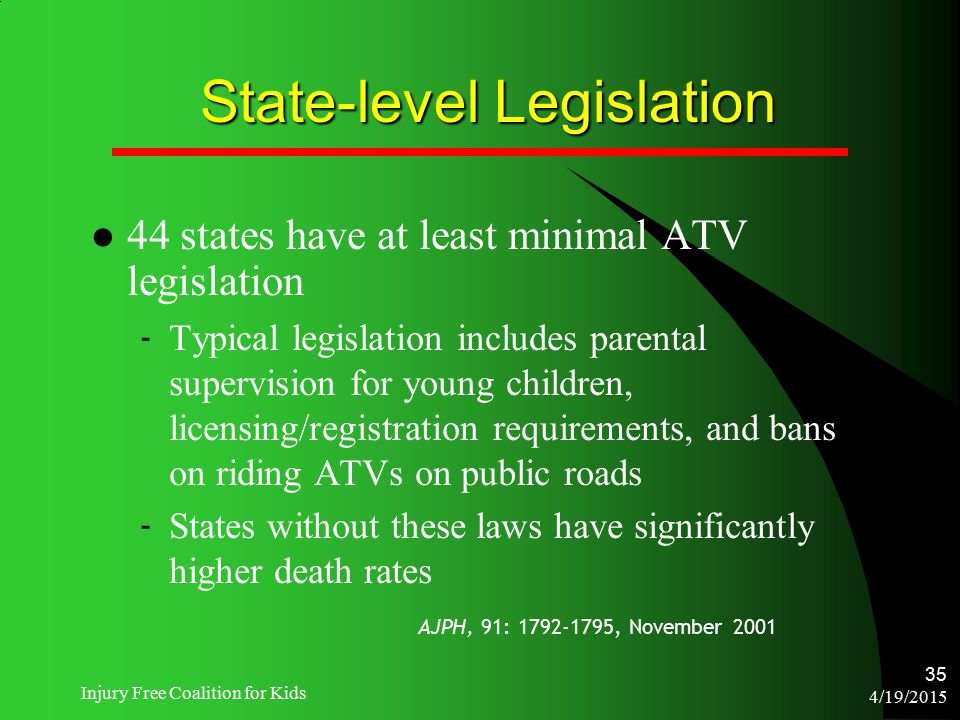 4/19/2015 Injury Free Coalition for Kids 35 State-level Legislation 44 states have at least minimal ATV legislation ‐ Typical legislation includes par