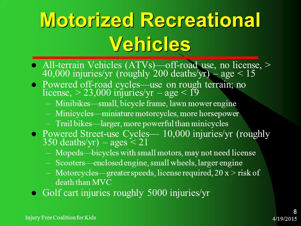 4/19/2015 Injury Free Coalition for Kids 8 Motorized Recreational Vehicles All-terrain Vehicles (ATVs)—off-road use, no license, > 40,000 injuries/yr