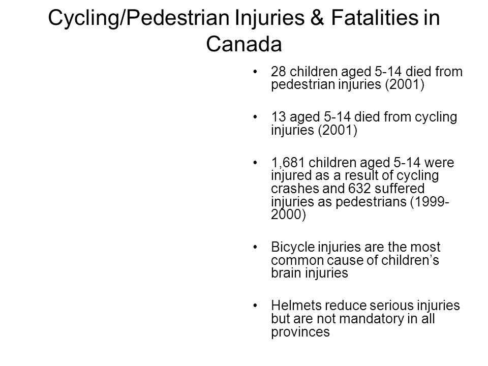 Cycling/Pedestrian Injuries & Fatalities in Canada 28 children aged 5-14 died from pedestrian injuries (2001) 13 aged 5-14 died from cycling injuries