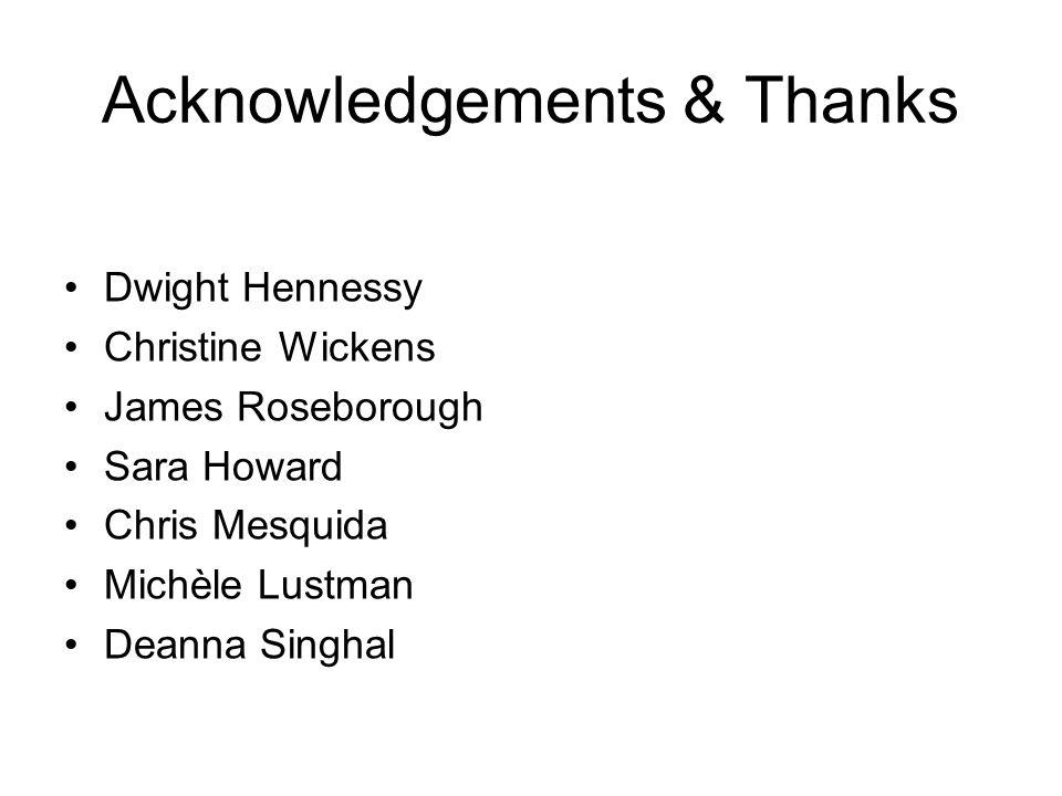 Acknowledgements & Thanks Dwight Hennessy Christine Wickens James Roseborough Sara Howard Chris Mesquida Michèle Lustman Deanna Singhal