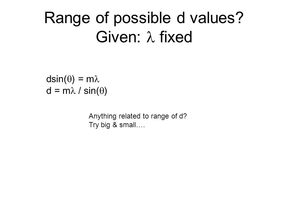 Range of possible d values.