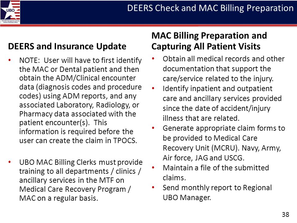DEERS and Insurance Update NOTE: User will have to first identify the MAC or Dental patient and then obtain the ADM/Clinical encounter data (diagnosis codes and procedure codes) using ADM reports, and any associated Laboratory, Radiology, or Pharmacy data associated with the patient encounter(s).