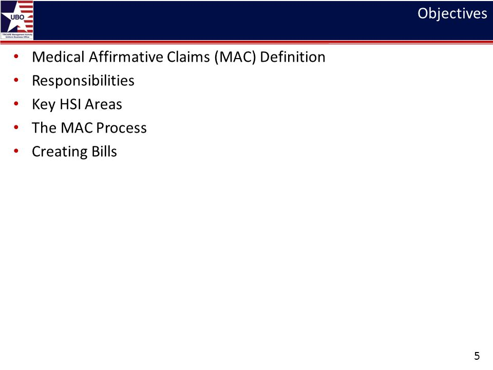 Objectives Medical Affirmative Claims (MAC) Definition Responsibilities Key HSI Areas The MAC Process Creating Bills 5