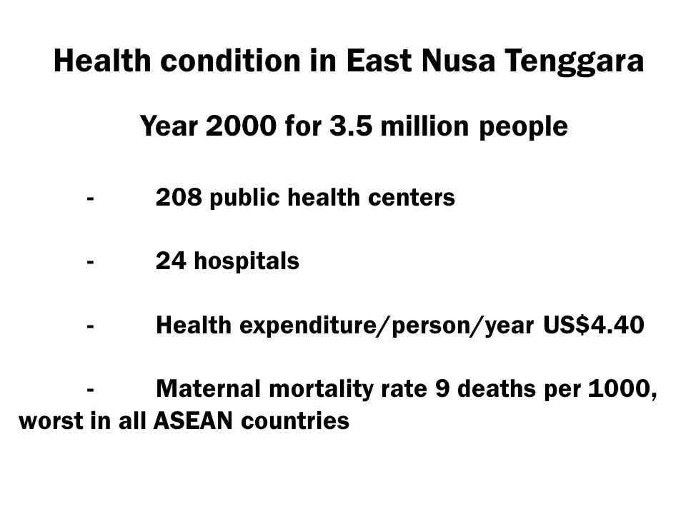 Health condition in East Nusa Tenggara Year 2000 for 3.5 million people -208 public health centers -24 hospitals -Health expenditure/person/year US$4.
