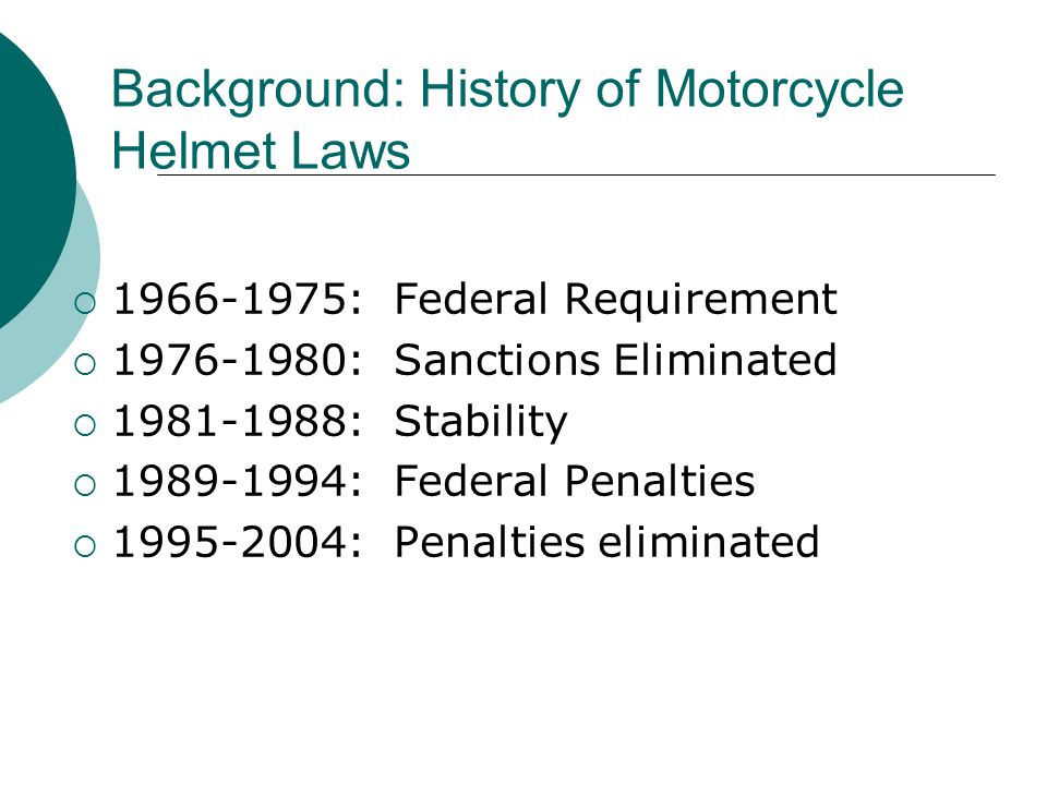 Background: History of Motorcycle Helmet Laws  1966-1975: Federal Requirement  1976-1980: Sanctions Eliminated  1981-1988: Stability  1989-1994: Federal Penalties  1995-2004: Penalties eliminated
