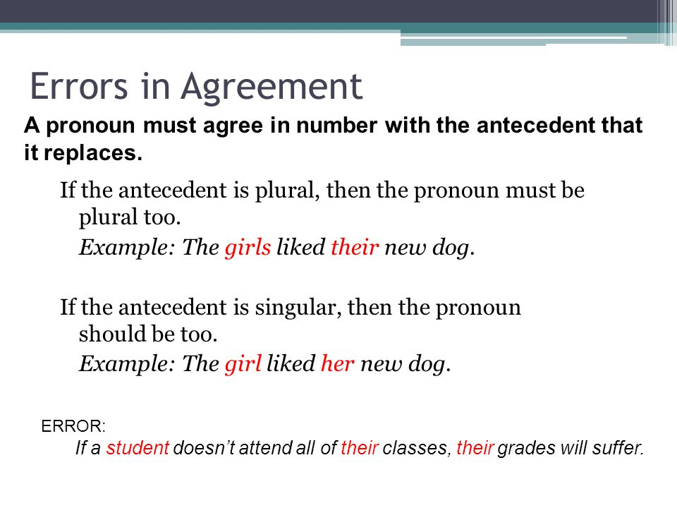 Errors in Agreement If the antecedent is plural, then the pronoun must be plural too. Example: The girls liked their new dog. If the antecedent is sin