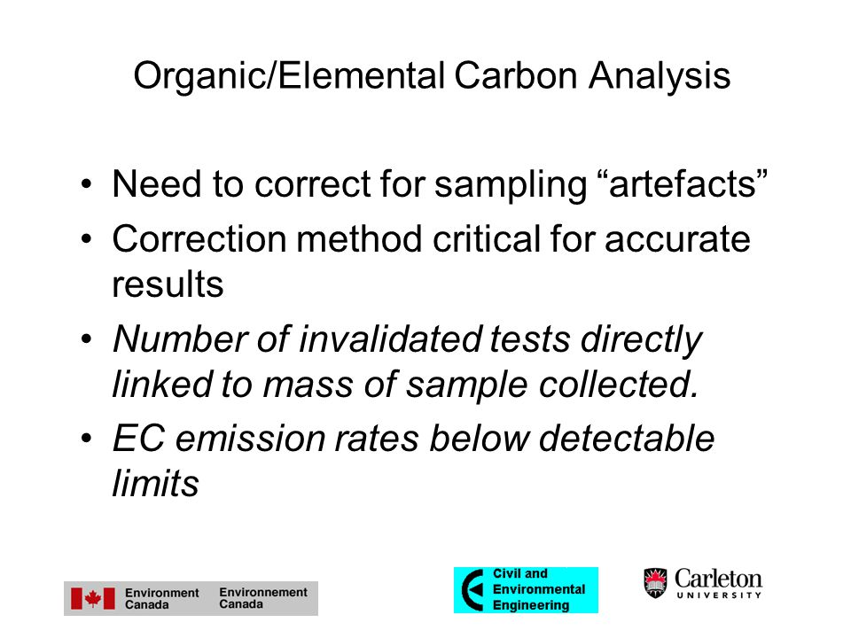 Organic/Elemental Carbon Analysis Need to correct for sampling artefacts Correction method critical for accurate results Number of invalidated tests directly linked to mass of sample collected.