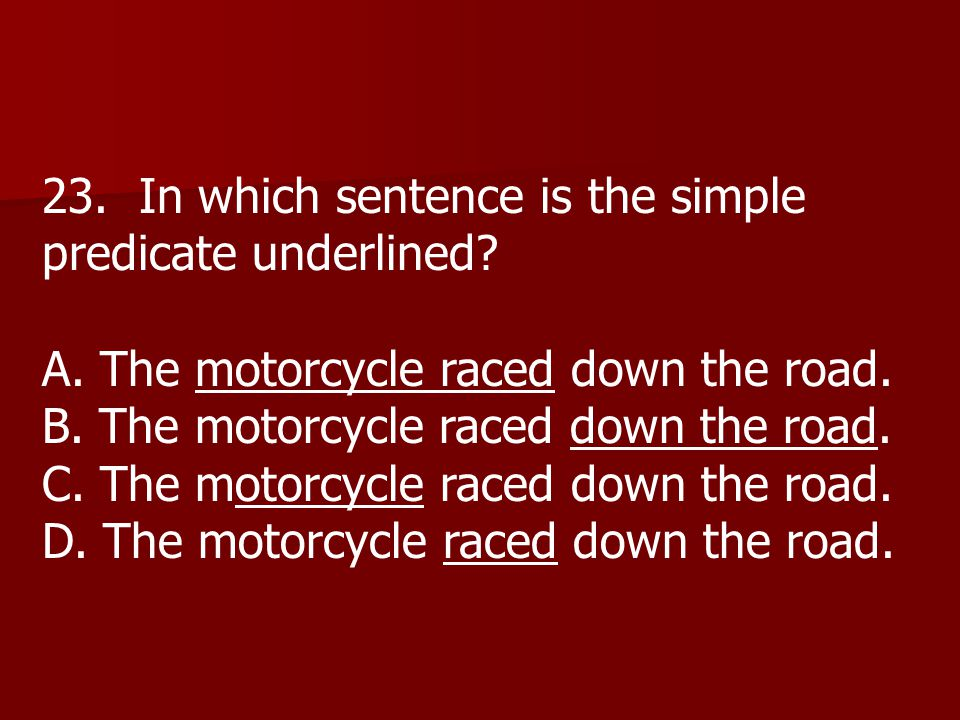 23. In which sentence is the simple predicate underlined.