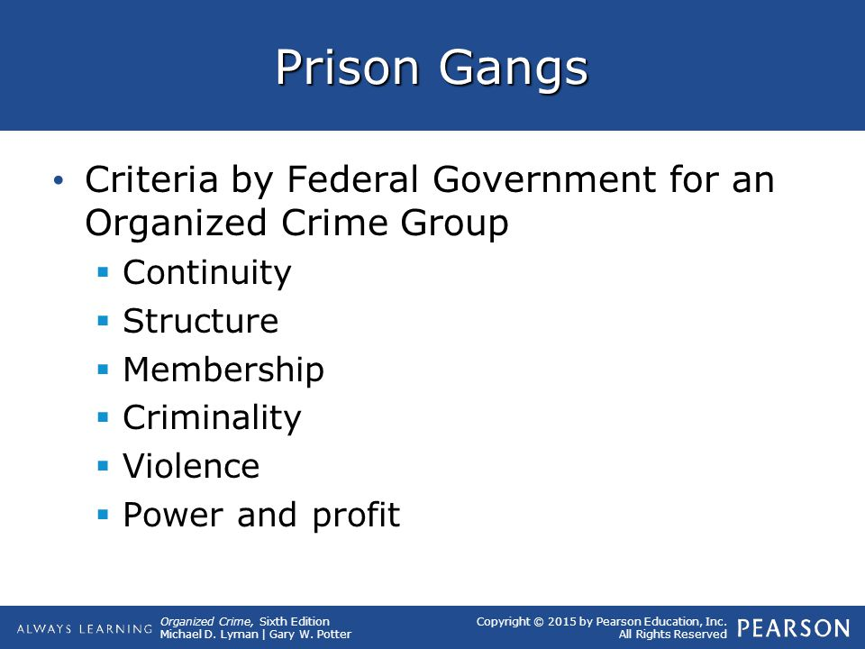 Organized Crime, Sixth Edition Michael D. Lyman | Gary W. Potter Copyright © 2015 by Pearson Education, Inc. All Rights Reserved Prison Gangs Criteria