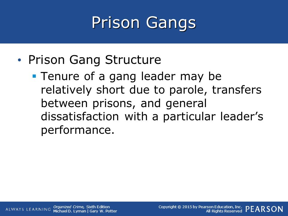 Organized Crime, Sixth Edition Michael D. Lyman | Gary W. Potter Copyright © 2015 by Pearson Education, Inc. All Rights Reserved Prison Gangs Prison G