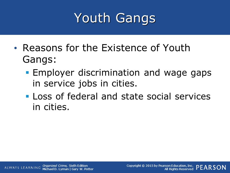 Organized Crime, Sixth Edition Michael D. Lyman | Gary W. Potter Copyright © 2015 by Pearson Education, Inc. All Rights Reserved Youth Gangs Reasons f