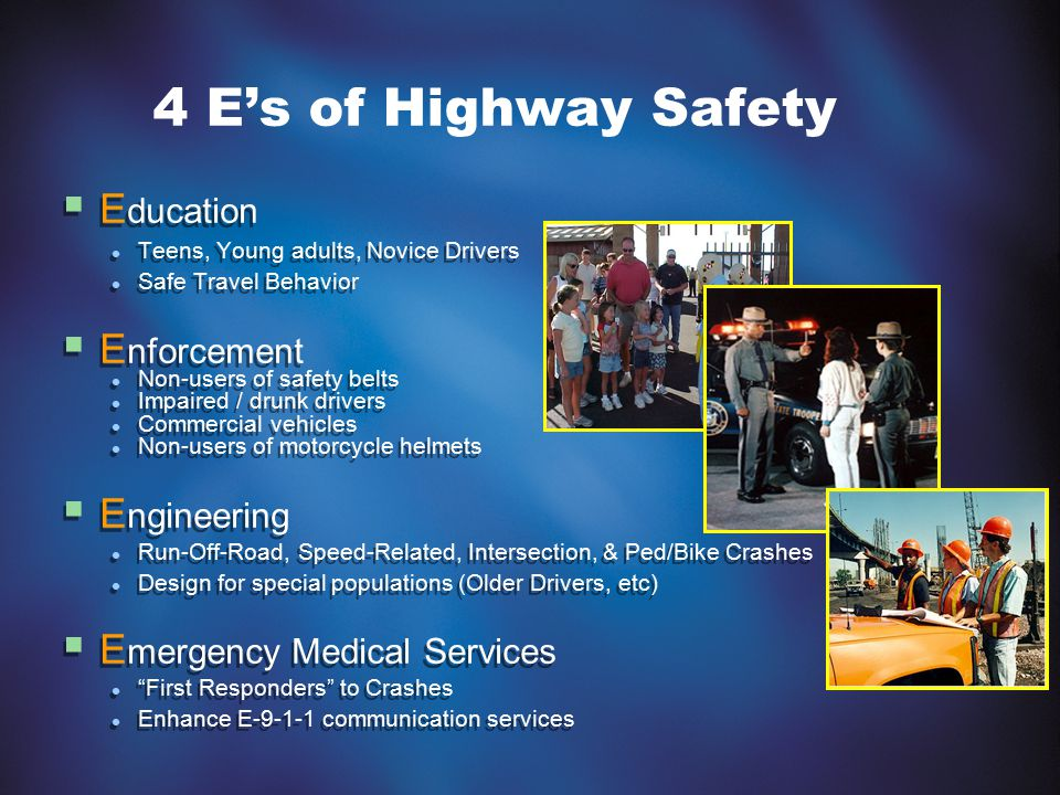 4 E's of Highway Safety  E ducation Teens, Young adults, Novice Drivers Safe Travel Behavior  E nforcement Non-users of safety belts Impaired / drun