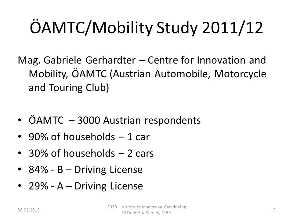 ÖAMTC/Mobility Study 2011/12 Mag.