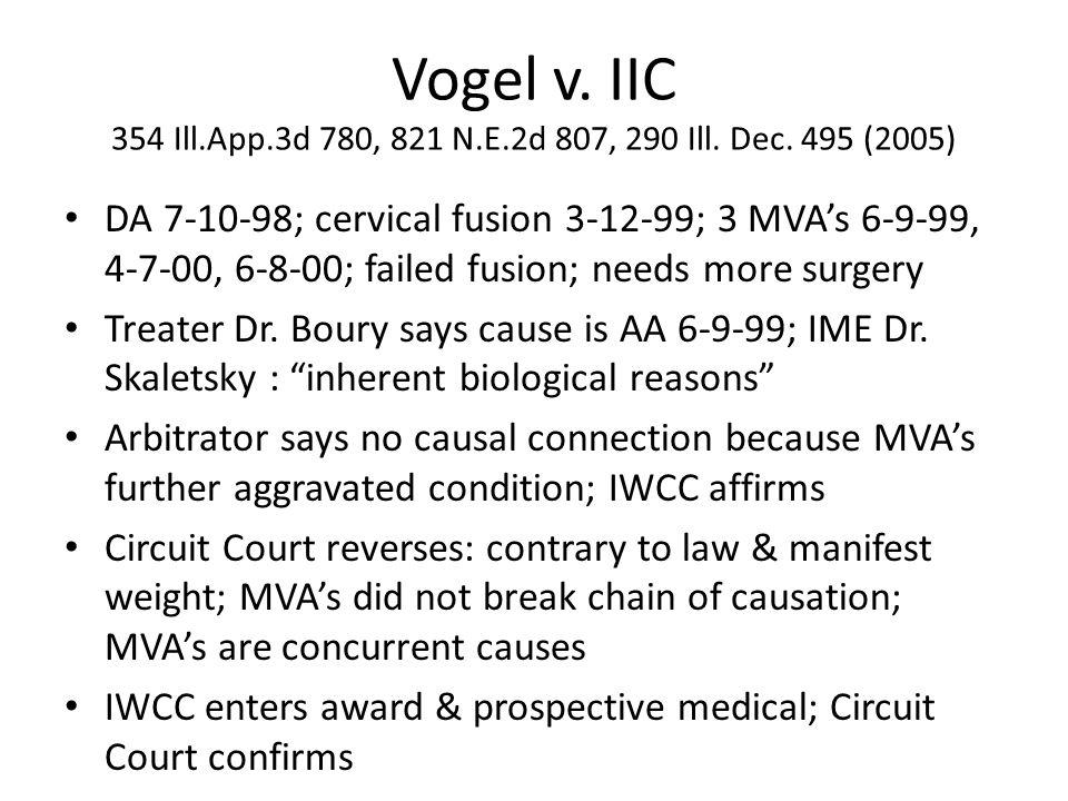 Vogel v. IIC 354 Ill.App.3d 780, 821 N.E.2d 807, 290 Ill.