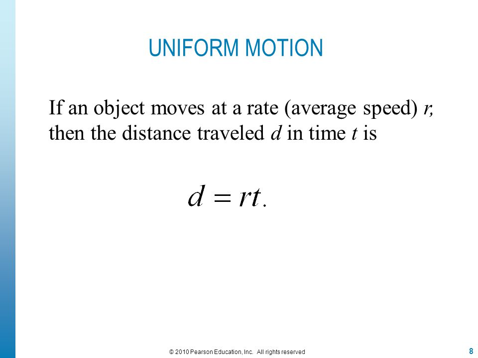 EXAMPLE 4 Solving a Uniform-Motion Problem A motorcycle police officer is chasing a car that is speeding at 80 miles per hour.