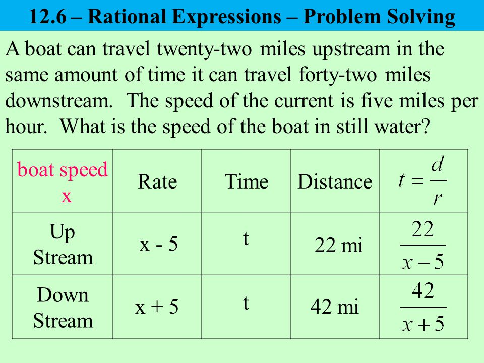A boat can travel twenty-two miles upstream in the same amount of time it can travel forty-two miles downstream.