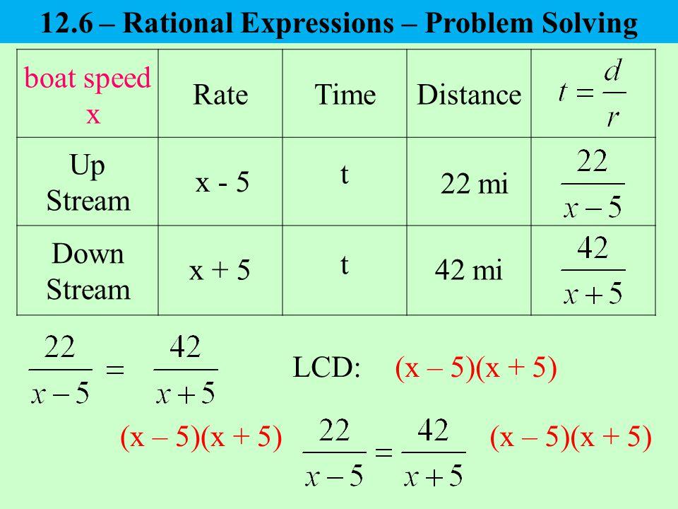 boat speed x RateTimeDistance Up Stream Down Stream x - 5 x + 5 22 mi 42 mi t t LCD:(x – 5)(x + 5) 12.6 – Rational Expressions – Problem Solving