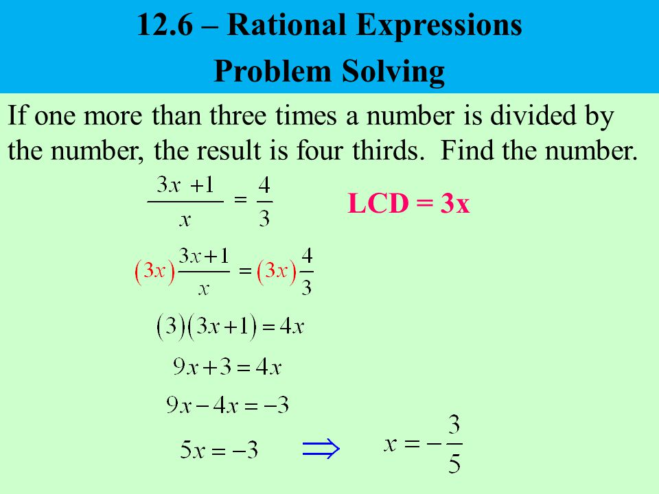 x(x + 15) Motorcycle Car 12.6 – Rational Expressions – Problem Solving