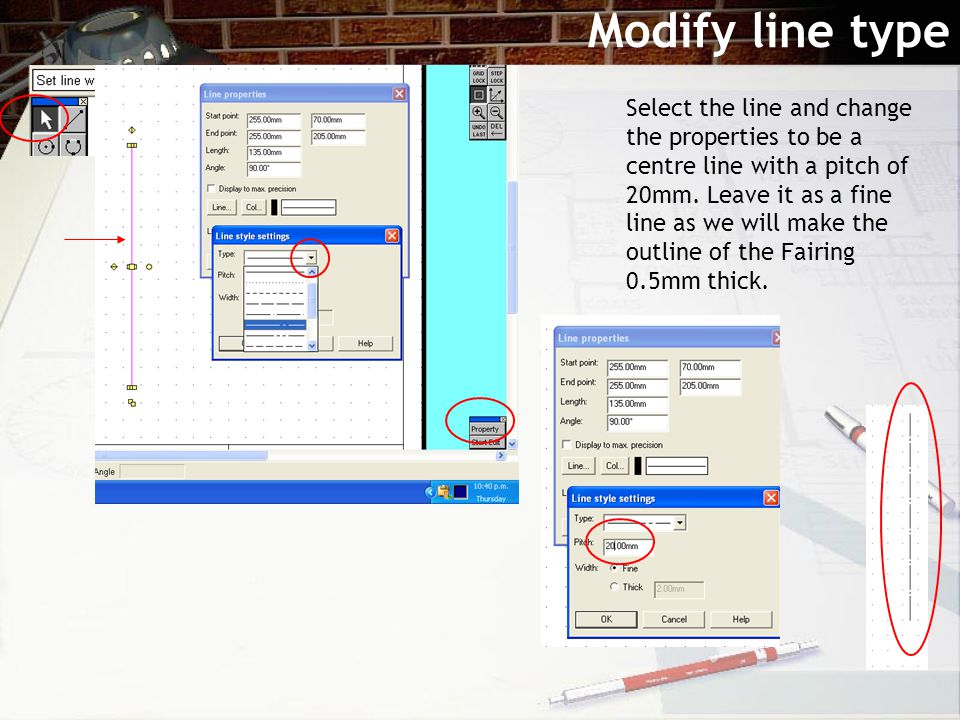 Modify line type Select the line and change the properties to be a centre line with a pitch of 20mm.