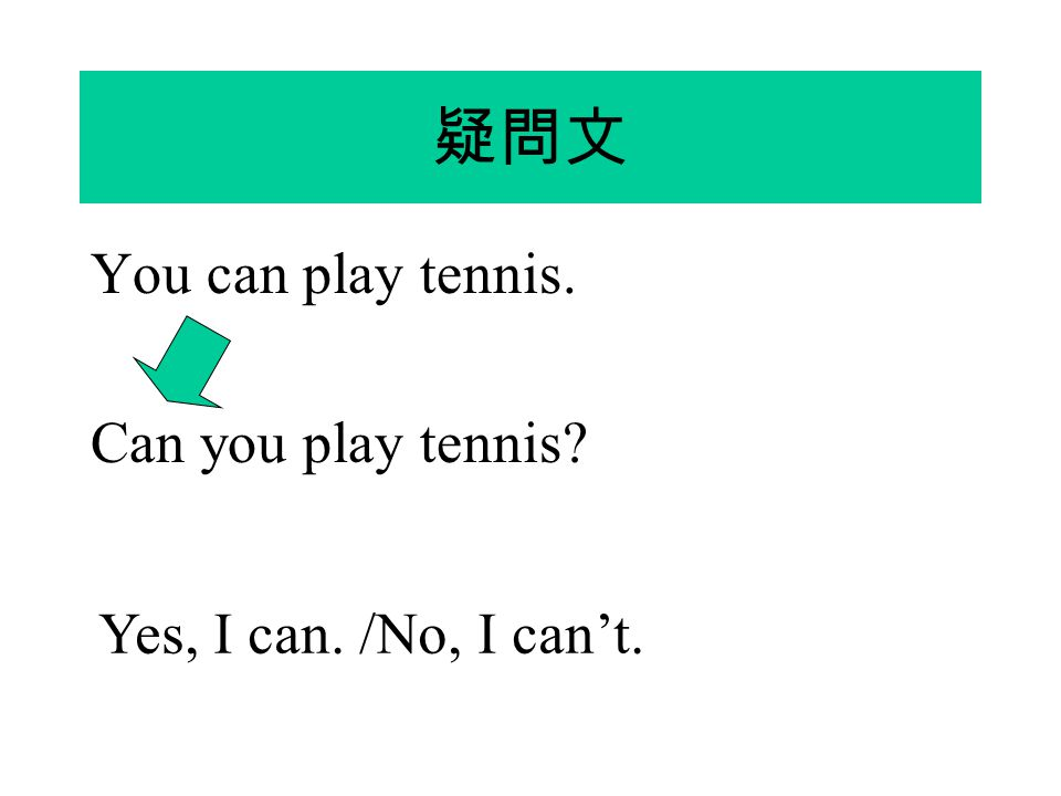疑問文 You can play tennis. Can you play tennis? Yes, I can. /No, I can't.