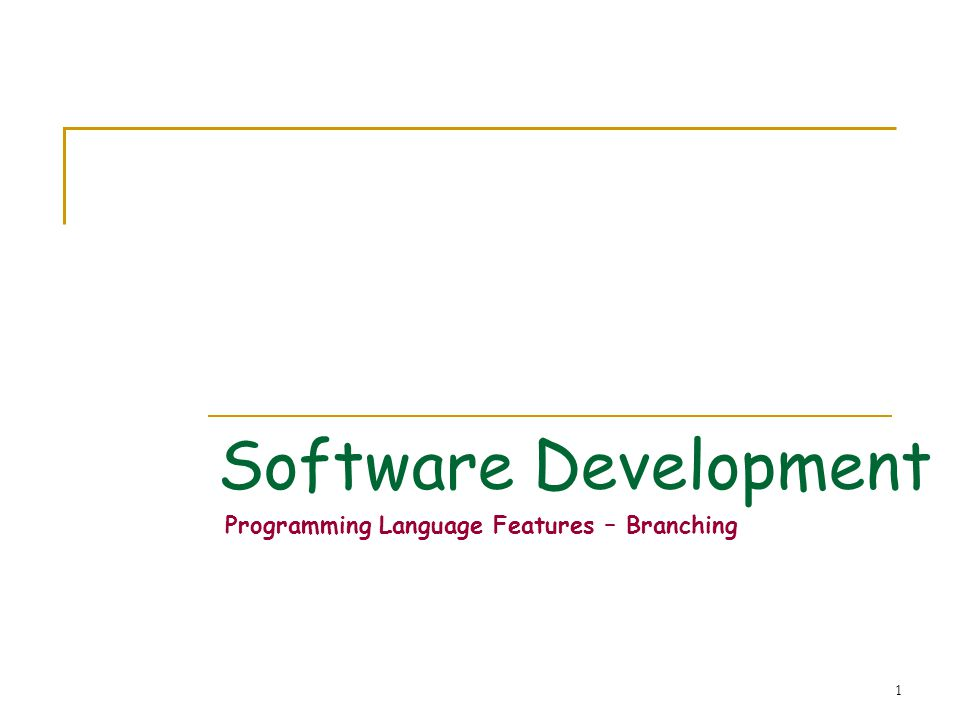 1 Software Development Programming Language Features – Branching