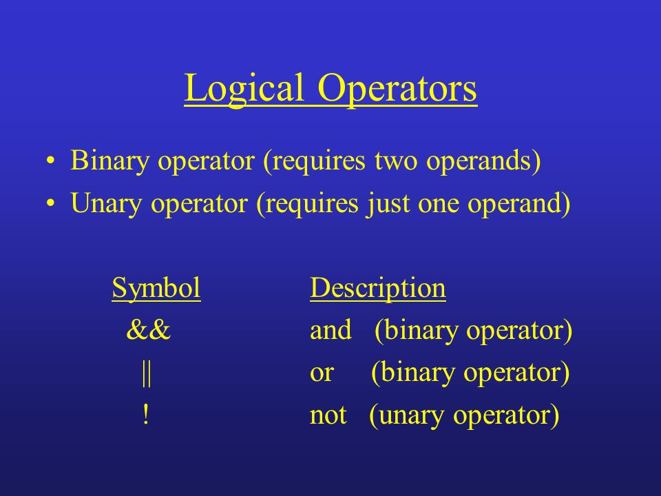 Logical Operators Binary operator (requires two operands) Unary operator (requires just one operand) Symbol Description &&and (binary operator) ||or (