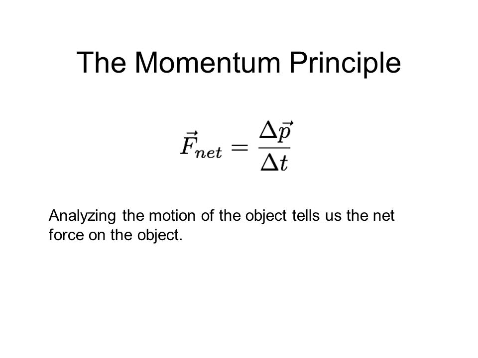 The Momentum Principle Analyzing the motion of the object tells us the net force on the object.