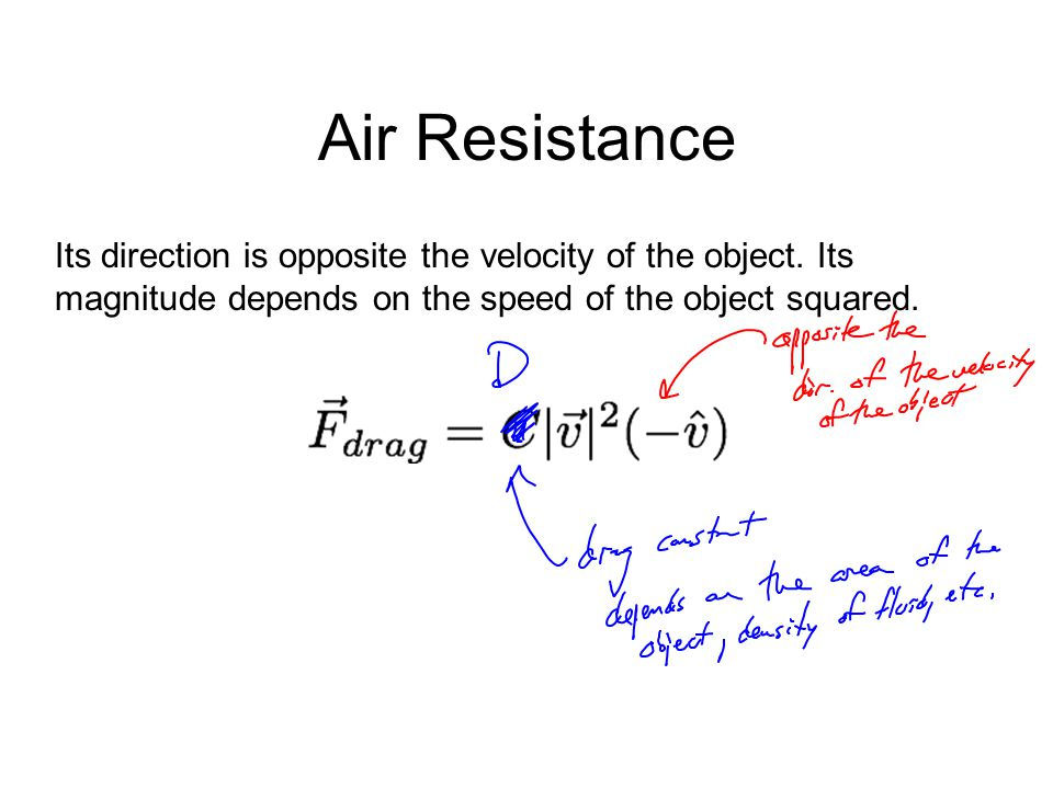 Air Resistance Its direction is opposite the velocity of the object.